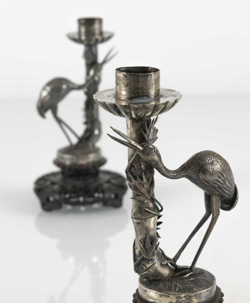 Pair of candlesticks made of silver in bamboo form with a Heron ornament - photo 2