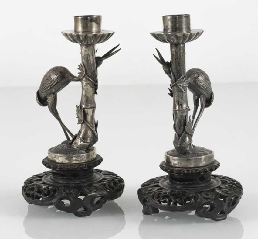 Pair of candlesticks made of silver in bamboo form with a Heron ornament - photo 3