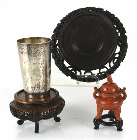 Silver cups, and incense burners, and two wood stands - photo 1