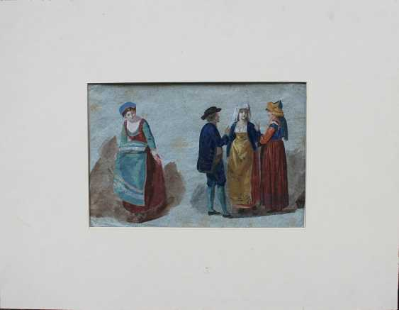 Venetian artist around 1800, Study of four people in Venetian dresses - photo 1