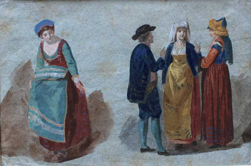 Venetian artist around 1800, Study of four people in Venetian dresses - photo 2