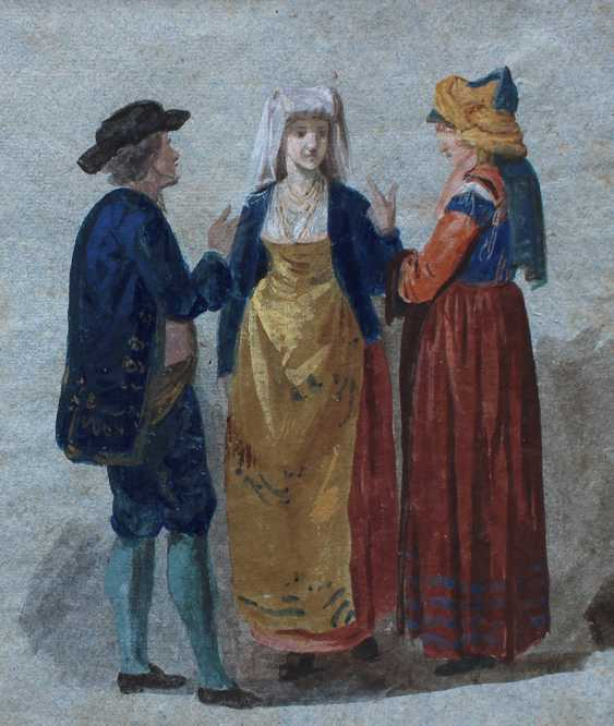 Venetian artist around 1800, Study of four people in Venetian dresses - photo 3