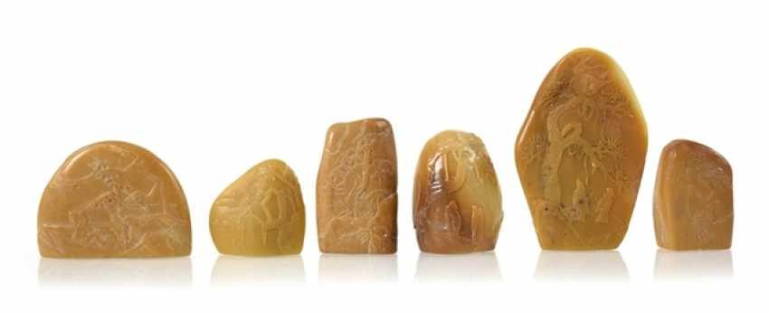 Group of six ungravierten seals made of Tianhuang - photo 1