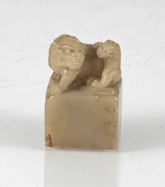 Seal with lion-knob made of light beige stone and four character seal mark on the bottom - photo 2