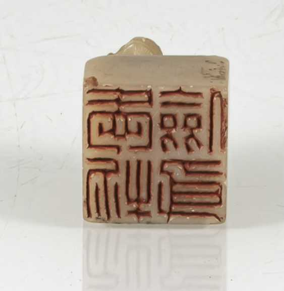 Seal with lion-knob made of light beige stone and four character seal mark on the bottom - photo 6