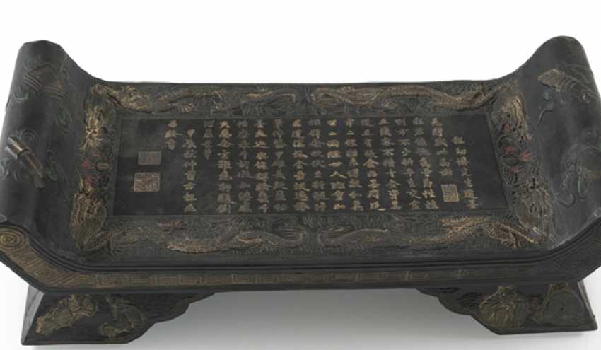 Lot of two Tuschreibesteinen and box with twelve ink stones - photo 3