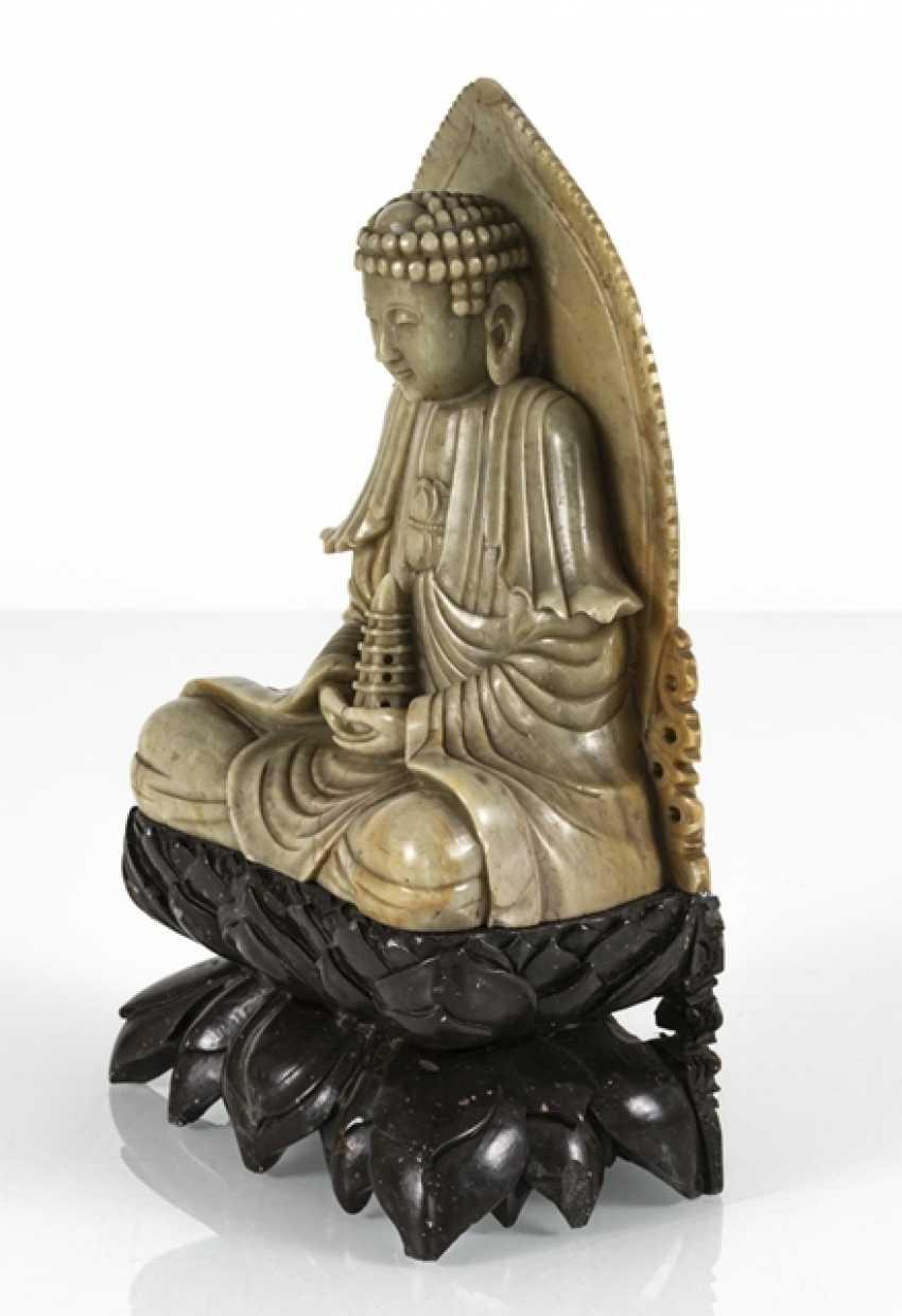 Soapstone carving of Buddha on a Pagoda holding - photo 2