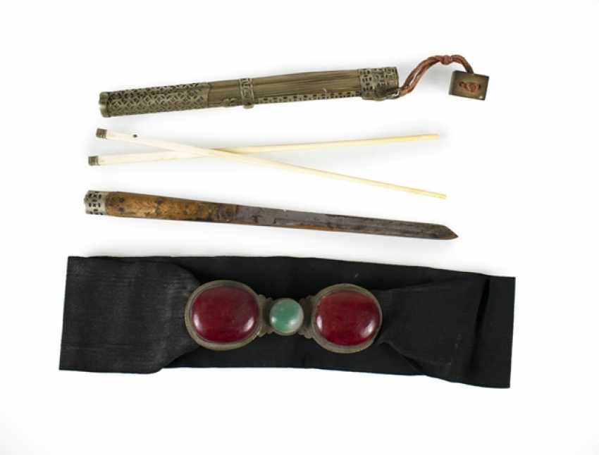 Belt that belongs with stone and glass trim and travel Cutlery with ivory chopsticks - photo 1