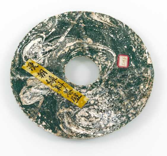 Bi-disk made of green glass, in cloth Box, old inscribed label - photo 2