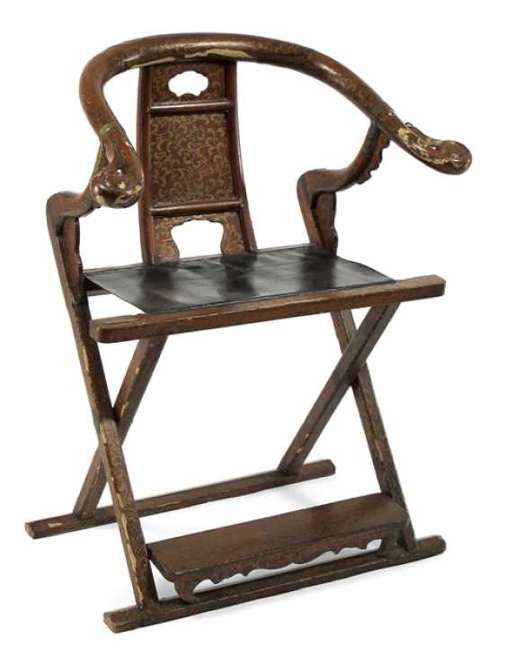 Folding chair with leather seat and red-Golden varnish-making - photo 1