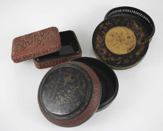 Three lid cans of paint, some with braid and decor in addition to inscription - photo 2