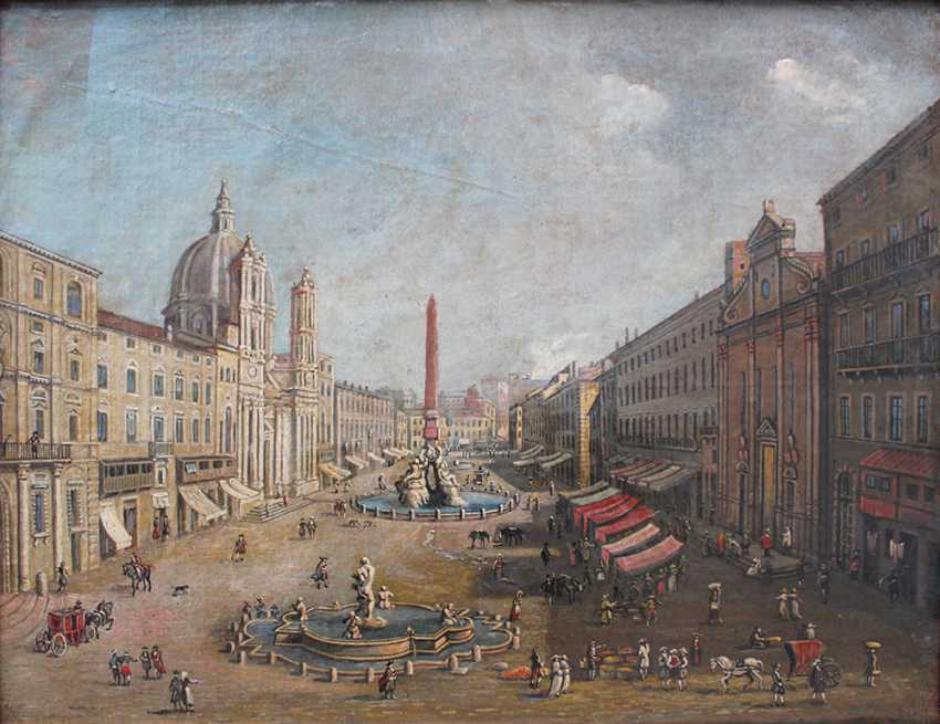 Gaspar van Wittel (1653-1736)-follower, View of the Piazza Navona with merchants and peasants in Rome - photo 2