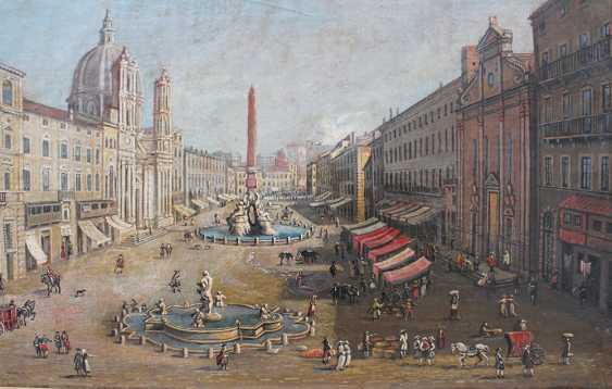 Gaspar van Wittel (1653-1736)-follower, View of the Piazza Navona with merchants and peasants in Rome - photo 3