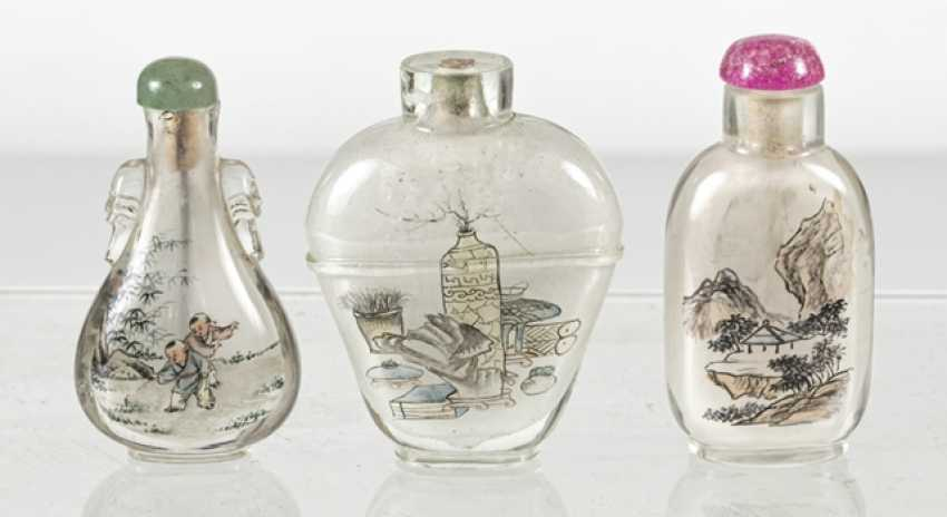 Five Snuffbottles made of glass with inside painting - photo 3
