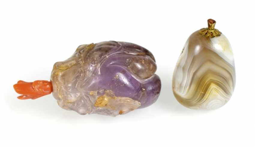Snuffbottle aus Amethyst and pebble-shaped Snuffbottle agate - photo 1