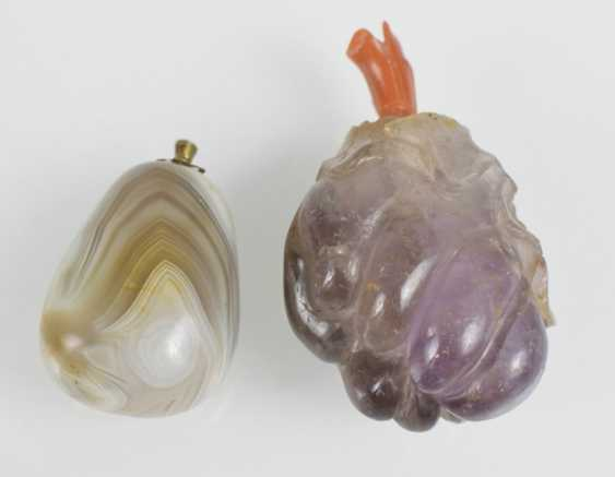 Snuffbottle aus Amethyst and pebble-shaped Snuffbottle agate - photo 2