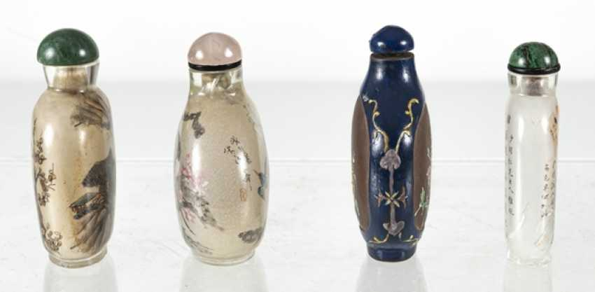 Four Snuffbottles, three inside-painted glass, made from Zisha-Ware - photo 2