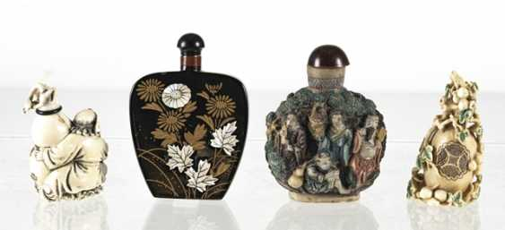 Four Snuffbottles made of lacquer, ivory, among others - photo 2