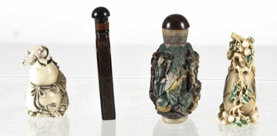 Four Snuffbottles made of lacquer, ivory, among others - photo 3