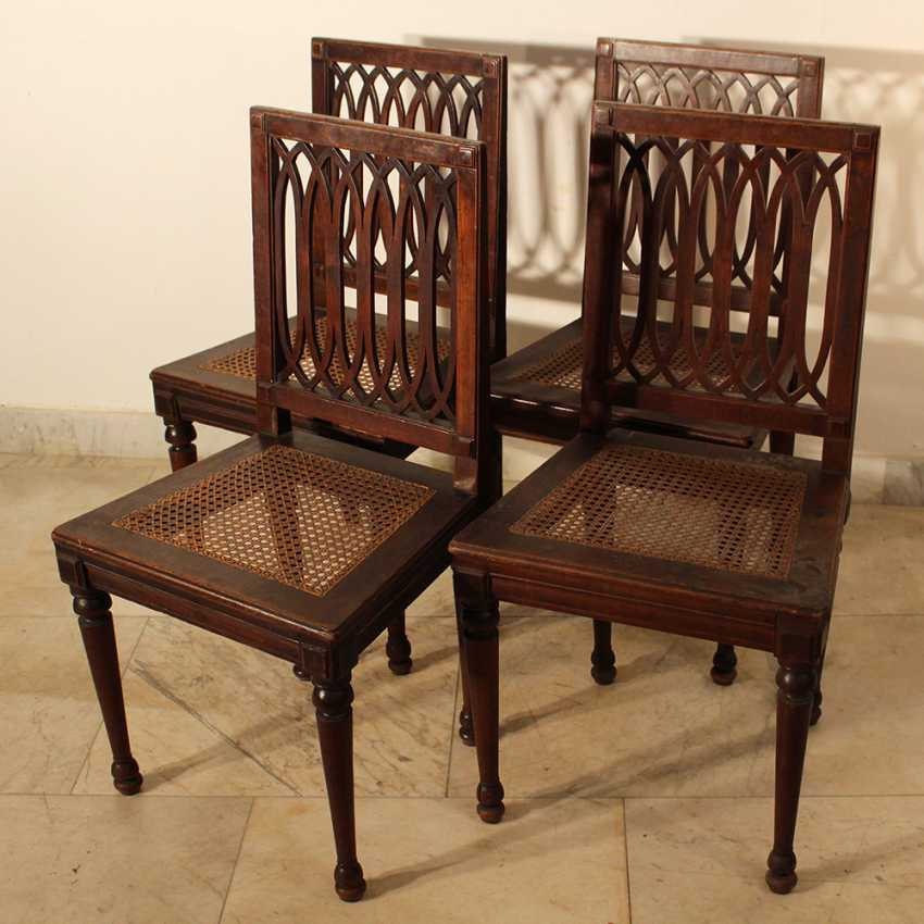 A set of four Louis XVI dining chairs, each with four fluted and turned legs - photo 1