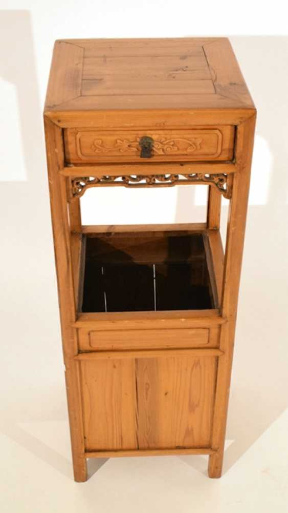 Side table or flower stand made of hard wood with drawer - photo 2