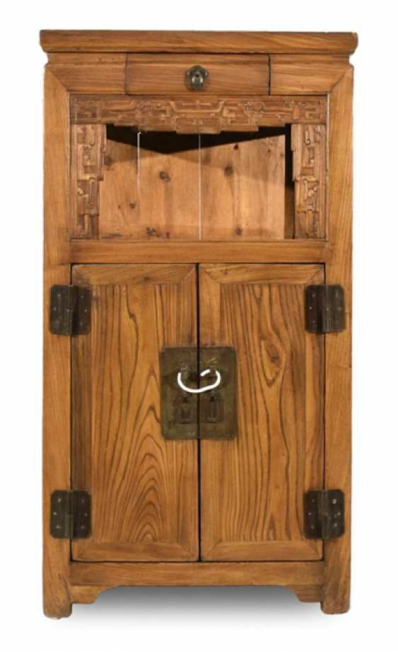 Two-door hard-wood-flower-stand with small drawer - photo 1