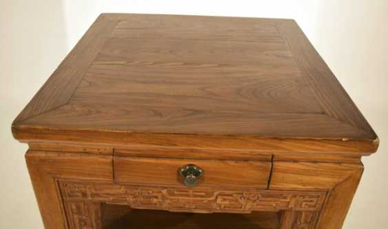 Two-door hard-wood-flower-stand with small drawer - photo 3