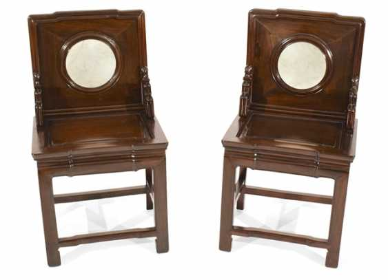 Pair of hardwood chairs, with circular stone deposits - photo 1