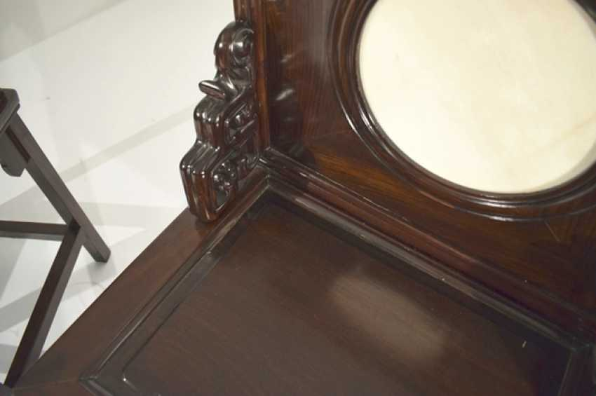 Pair of hardwood chairs, with circular stone deposits - photo 2