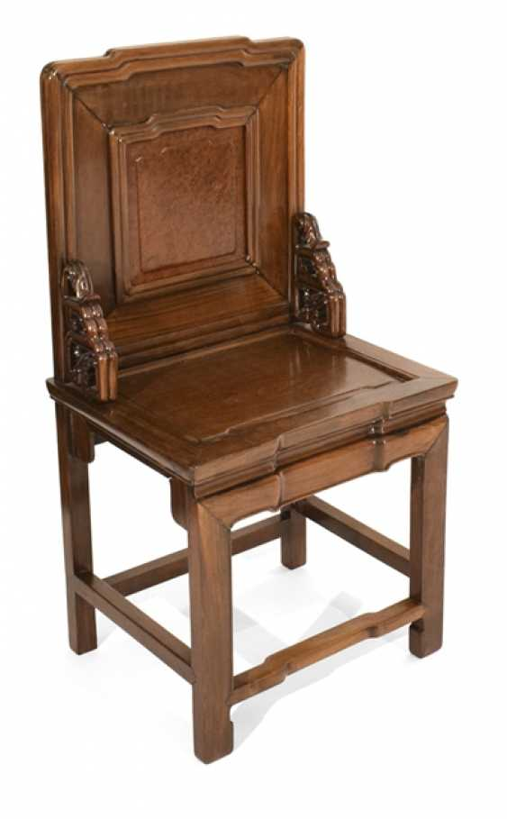 Hard wood chair with burl wood inlay in the backrest - photo 1