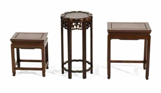 Three side tables made of hard wood - photo 1