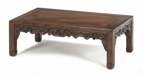 Side table made from hard wood and Stand made of wood with inlaid stone plate - photo 1