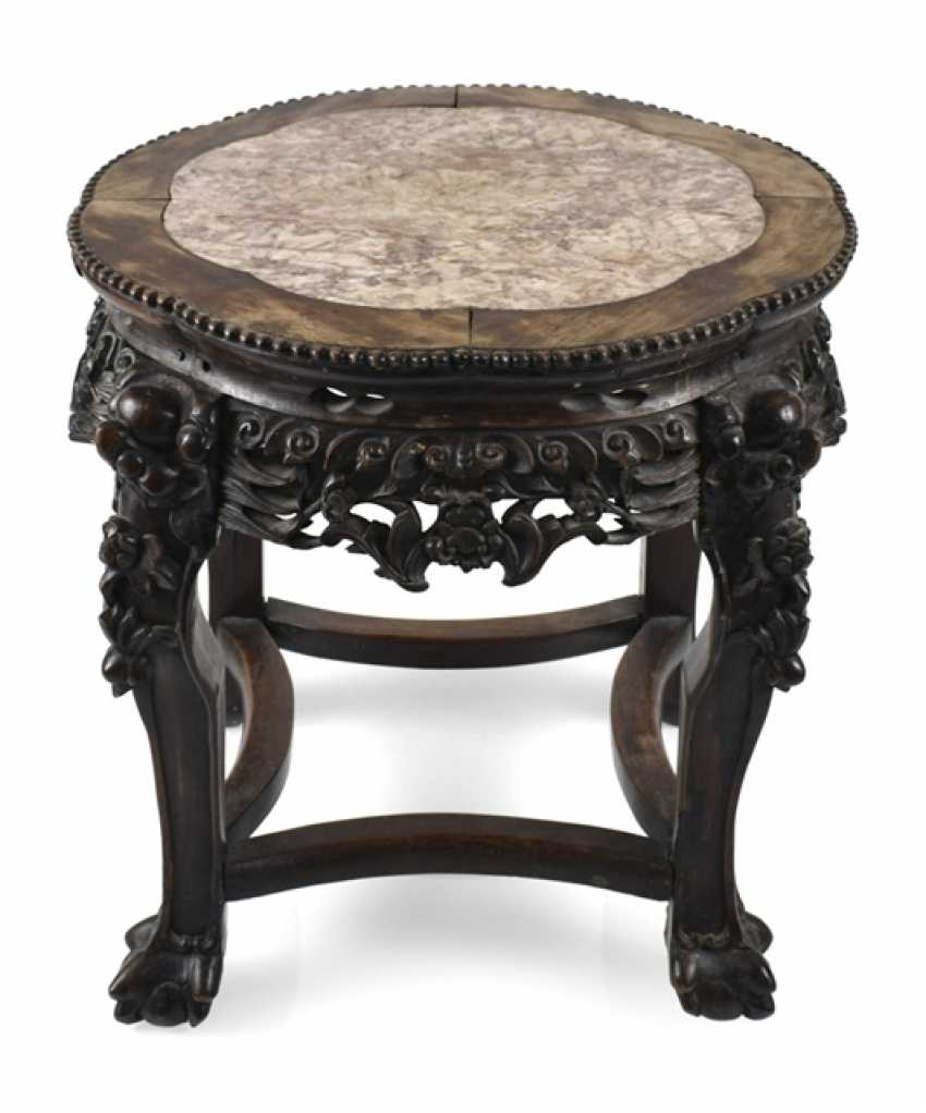 Stool made of hard wood with inlaid stone plate - photo 1