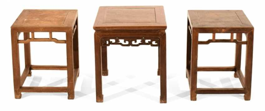 Wooden stool with a volute-shaped frame and a Pair of stools - photo 1