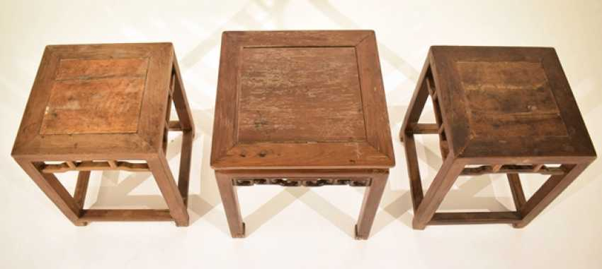 Wooden stool with a volute-shaped frame and a Pair of stools - photo 2