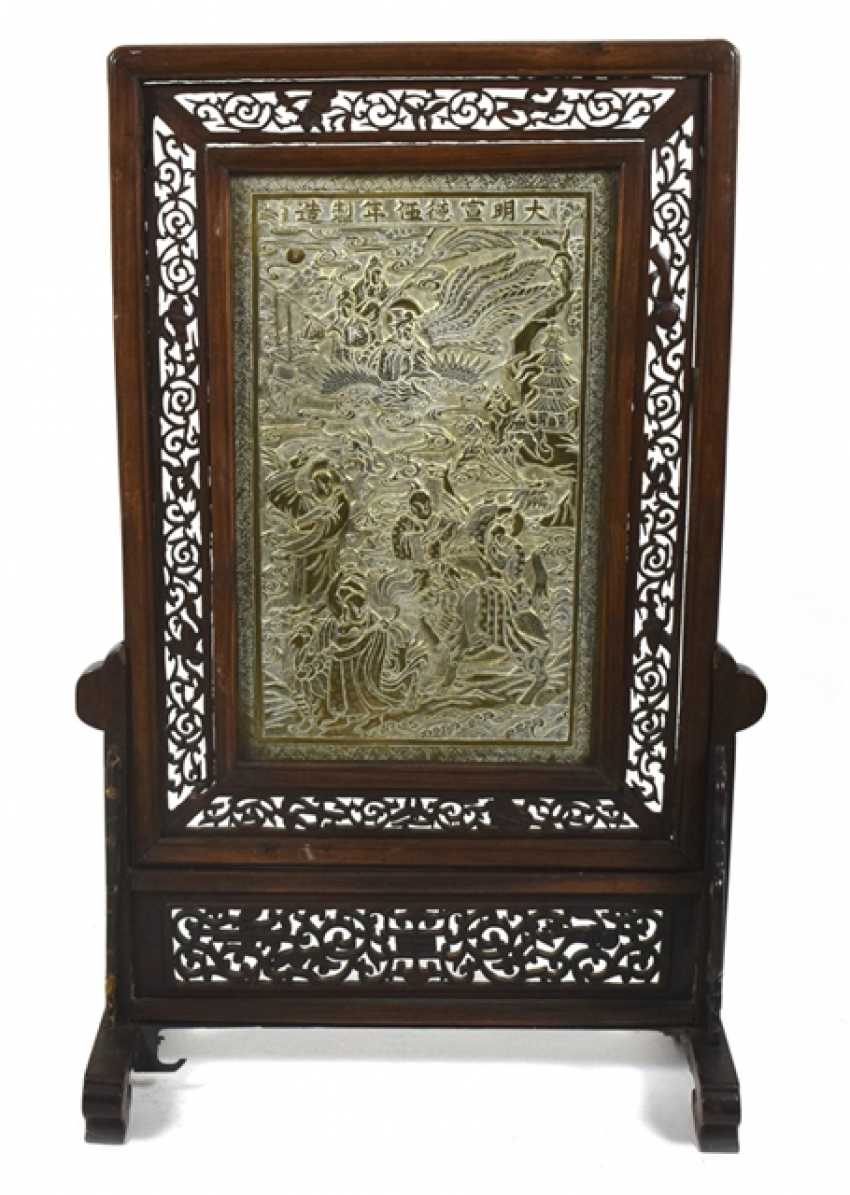 Hard wood control shield with a brass plate with decoration of Immortals - photo 1