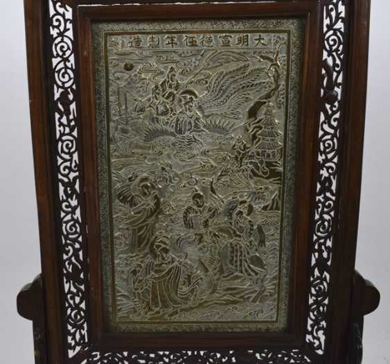 Hard wood control shield with a brass plate with decoration of Immortals - photo 2