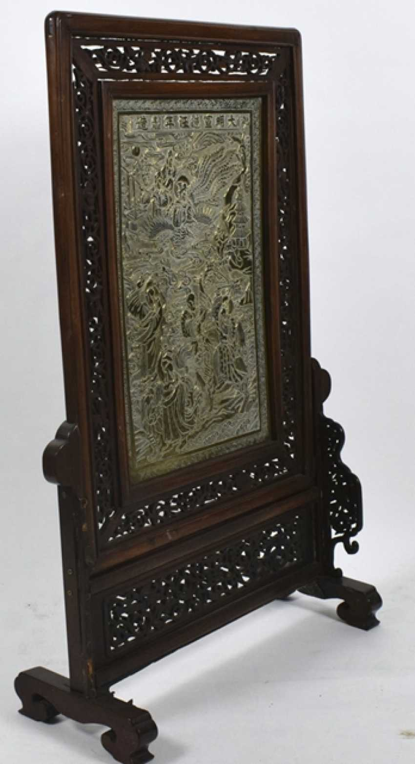 Hard wood control shield with a brass plate with decoration of Immortals - photo 3