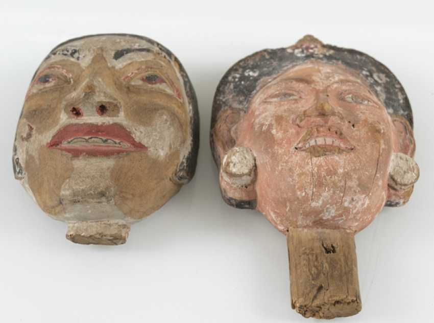 Four wood carvings in the Form of masks - photo 2