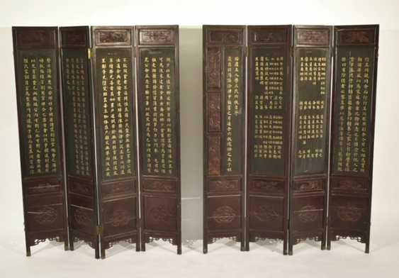 Eight-piece control screen with landscape decoration in gold lacquer - photo 4