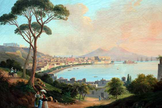 Neapolitan School early 19th Century, View of the bay of Naples with the town, ships, peasants and the Vesuvius in the background - photo 2