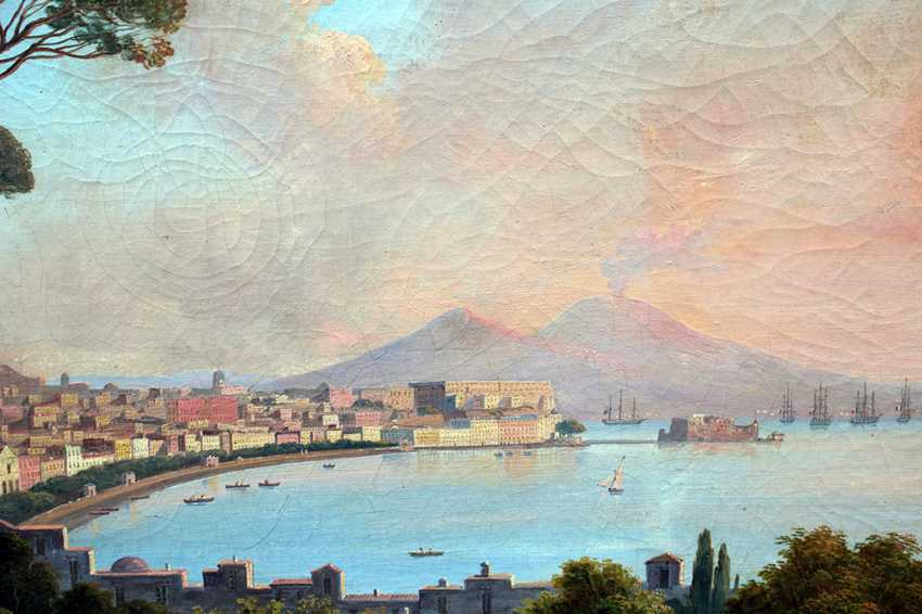 Neapolitan School early 19th Century, View of the bay of Naples with the town, ships, peasants and the Vesuvius in the background - photo 3