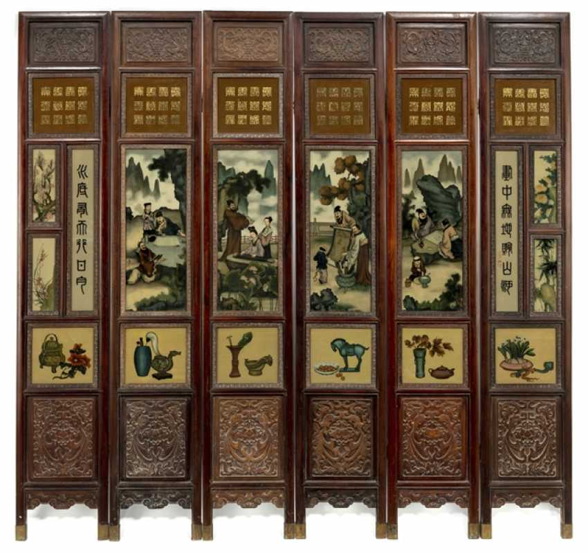 Six-piece carved control screen with poem inscription and taught presentation - photo 1