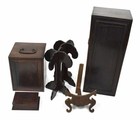 Group of stands, carvings and Lid boxes made of wood - photo 1