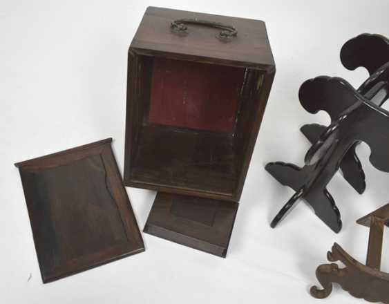 Group of stands, carvings and Lid boxes made of wood - photo 2