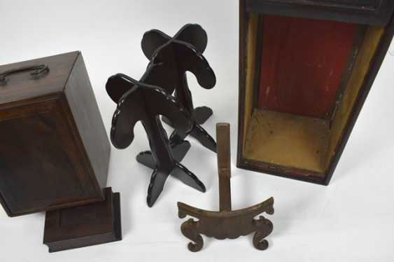 Group of stands, carvings and Lid boxes made of wood - photo 3