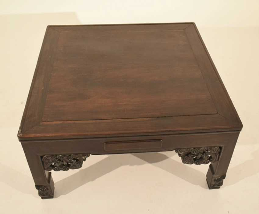 Flat hardwood table with four drawers - photo 2
