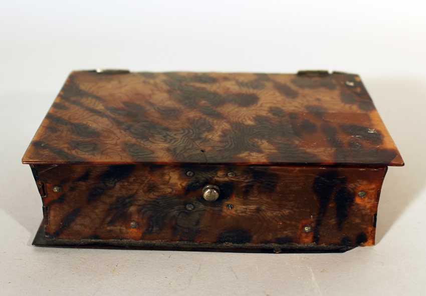 Голландский коробка tortoishell в виде книги, одна крышечка с серебряным замком и петлями - фото 1