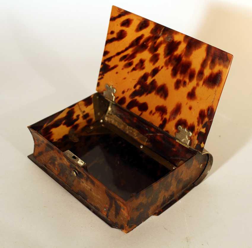Голландский коробка tortoishell в виде книги, одна крышечка с серебряным замком и петлями - фото 2