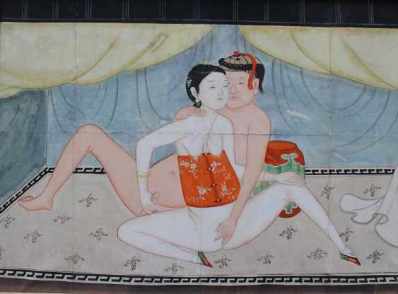 Erotic painting of a couple in a chamber, watercolour with Indian ink on paper - photo 2